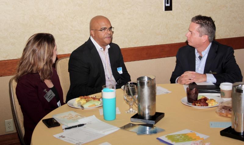 Member Courtney Ramsey, Visitor Patrick Allmond and  NSA-NT Past President Chris Price