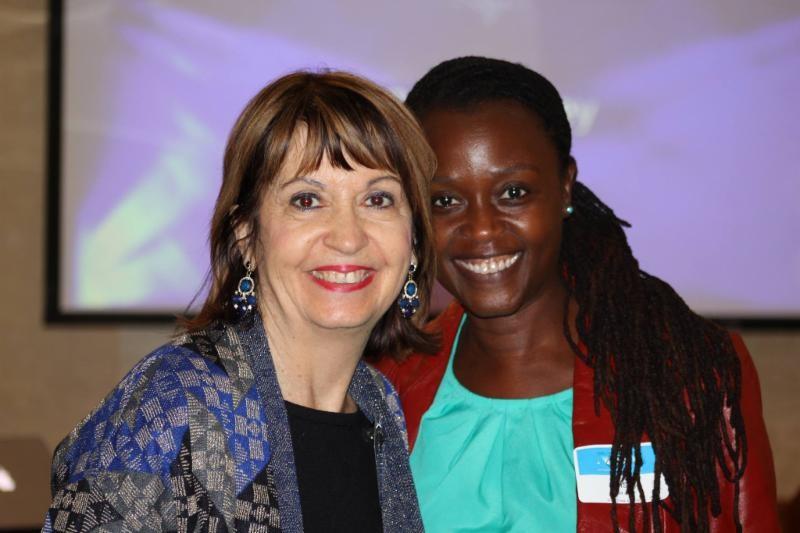 Member Nancy Little with visitor Elsa Juko